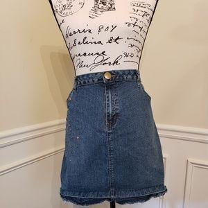 Plus Size Blue Jean Skirt w/ Grommet Detail (18w)